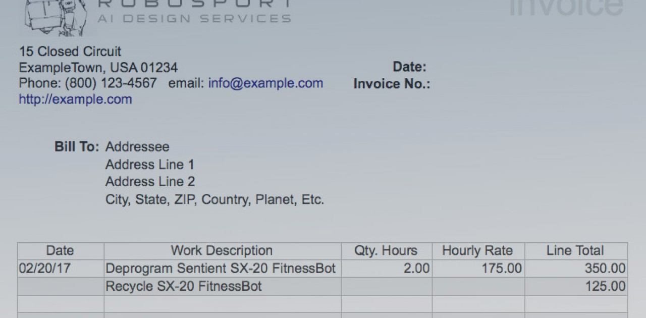 Simple Invoice Template for LibreOffice - Marc Carson Web Design ...